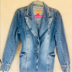 Mossimo faded denim fitted blazer jacket small